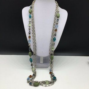Premier Designs Glass Stone Beaded Long Necklace